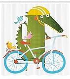 ABAKUHAUS Komisch Duschvorhang, Krokodil Fre&e Fahrrad, Seife Bakterie Schimmel & Wasser Resistent inkl. 12 Haken & Farbfest, 175 x 200 cm, Multicolor
