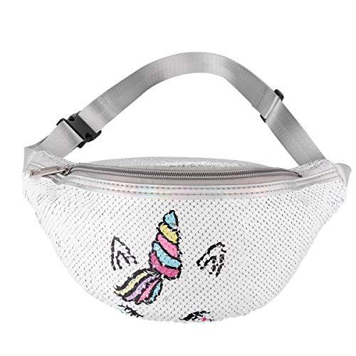 FENICAL Gürteltasche Einhorn Pailletten Gürteltasche Glitzer Cartoon Brusttasche für Frauen Mädchen (Weiß)