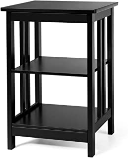 TimmyHouse Sofa End Table 3-Tier Side Table Nightstand W/Baffles and Round Corners Black