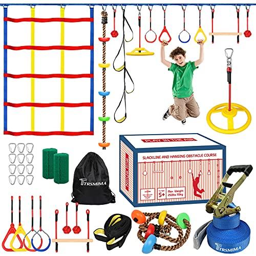 Trsmima Ninja Warrior Obstacle Course for Kids - 60' Ninja Slackline Kit -Backyard Ninja Warrior Training Equipment for Adult with 11 Attachments Includes Climbing Rope/Webbing Ladder/Climbing Net