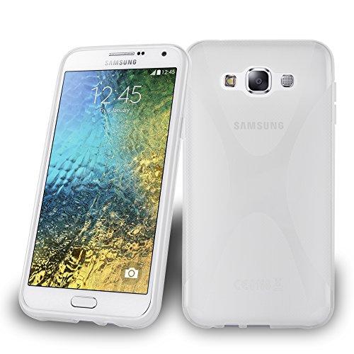 Cadorabo Hülle kompatibel mit Samsung Galaxy E7 Hülle in HALB TRANSPARENT Handyhülle aus flexiblem TPU Silikon im X-Line Silikon Schutzhülle