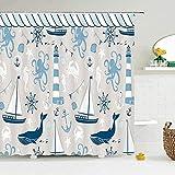 Cortina de ducha náutica para playa para niños, tela impermeable, decoración de baño, concha de faro, cortinas de ducha...