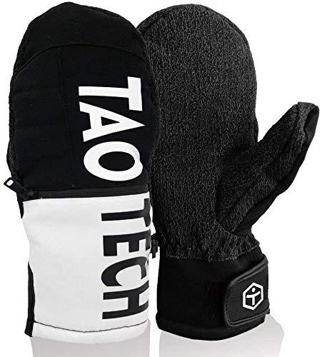 TaoTech スノーボード グローブ メンズ レディース ミトン スキーグローブ 防水 5本指 インナー (ケブラーブラック, M)