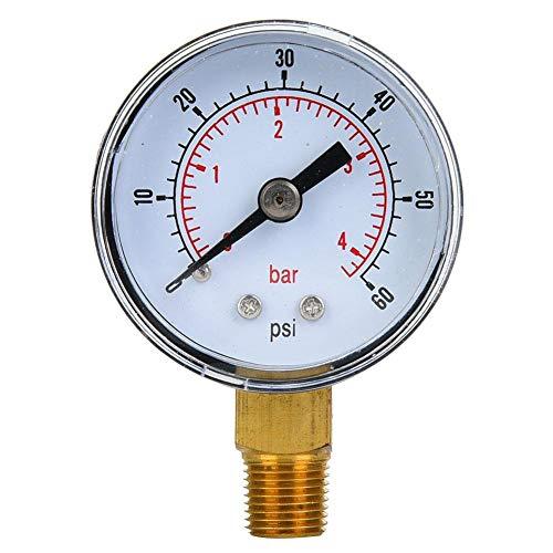 Mechanisches Manometer, 1/8 Zoll BSPT Manometer für Luft, Öl und Wasser(0-60psi,0-4bar)