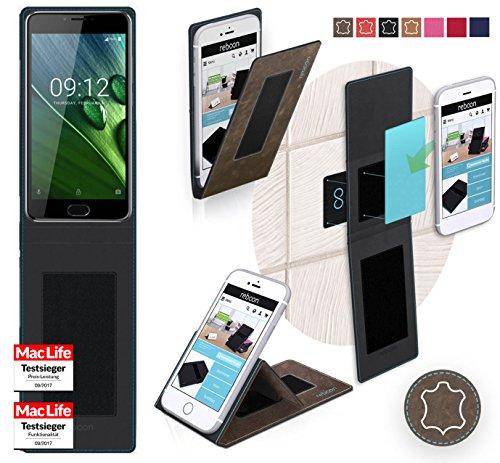 reboon Hülle für Acer Liquid Z6 Plus Tasche Cover Case Bumper | Braun Wildleder | Testsieger