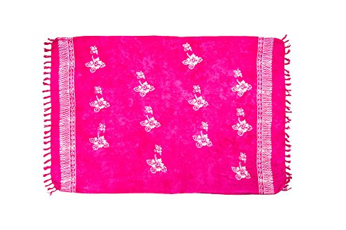MANUMAR Damen Pareo blickdicht, Sarong Strandtuch in pink mit Hibiscus Motiv, XL Größe 175x115cm, Handtuch Sommer Kleid im Hippie Look, für Sauna Hamam Lunghi Bikini