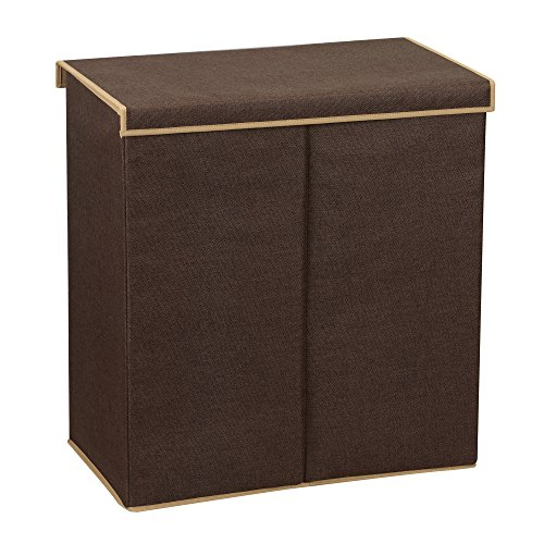 Household Essentials 5614 Double Hamper Laundry Sorter with Magnetic Lid Brown Coffee Linen