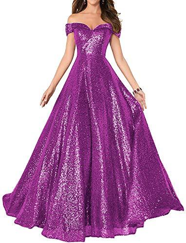 HUINI Damen Elegant Ballkleid Pailletten Lang Abendkleid für Hochzeit Standesamt Brautkleider Off-Schulter Promkleider Fuchsie 46
