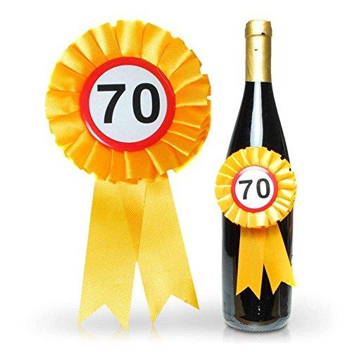 Trendagentur KEPPLINGER Flaschenrosette zum 70. Geburtstag - Flaschen Rosette mit Siegerschleifchen und 70er Button mit Gummiband zum befestigen - ca. 14 x 8 cm
