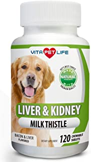 Milk Thistle Liver, Kidney and Bladder Support for Dogs, Detox, DHA, EPA, Hepatic Support, Dandelion Root, Omega 3 Fish Oil, VIT B1,B2,B6,B12, Kidney Stone Prevention.120 Natural Chew-able Tablets.