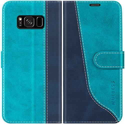 Mulbess Handyhülle für Samsung Galaxy S8 Plus Hülle, Samsung S8 Plus Hülle Leder, Etui Flip Handytasche Schutzhülle für Samsung Galaxy S8 Plus Case, Mint Blau