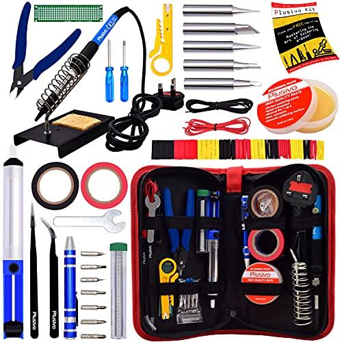 Soldering Iron Kit - Soldering Iron 60 W Adjustable Temperature, Diagonal Wire Cutter, Stand,Soldering Iron Tip Set, Desoldering Pump, Tweezers, Heatshrink Tubes - [230 V, UK Plug]