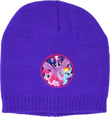 My Little Pony MLP Paarse Badge Winter Beanie Hoed Meisjes Kinderen Sneeuw Ski Regenboog Twilight & Pinkie Hoofddeksels 4-8 Jaar Paars