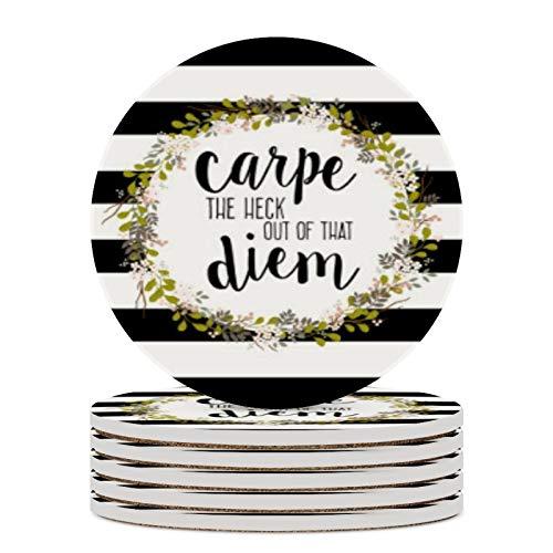 Juego de 4 posavasos de cerámica para bebidas, diseño de Carpe Diem, resistentes al calor, ideales para amigos, hombres y mujeres