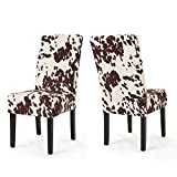 Christopher Knight Home Pertica Contemporary Velvet Dining Chairs, 2-Pcs Set, Milk Cow / Dark Brown