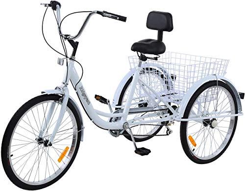 R MuGuang - Triciclo de 24 Pulgadas, 6 velocidades, 3 Ruedas, para Adultos, con Cesta de la Compra, Blanco