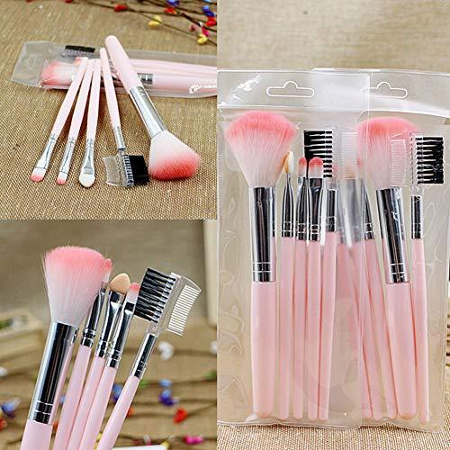 Momangel Professionnel 5pcs Set/Kit Base de fards à paupières Eyeliner Foundation Pinceaux Maquillage Cosmétique Pinceaux Cosmétique Brush Pink