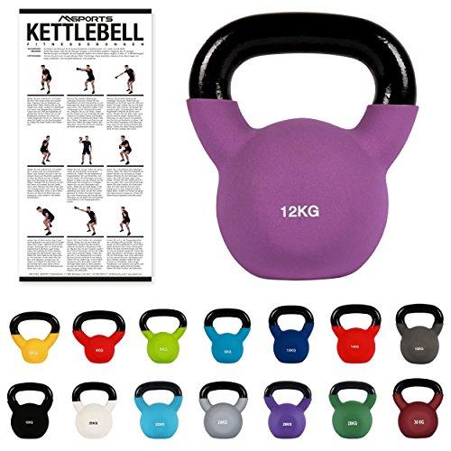 MSPORTS Kettlebell Neopren 2 – 30 kg inkl. Übungsposter (12 Kg - Lila) Kugelhantel