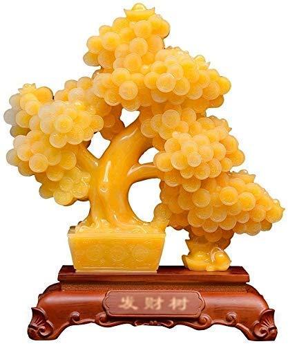 Accesorios para el hogar Golden Bonsai Money Tree Tallado Artesanía Riqueza Bonsai Style Decoración Suerte Prosperidad Regalo espiritual Decoración Energía decorativa Feng Shui Accesorios mesa para