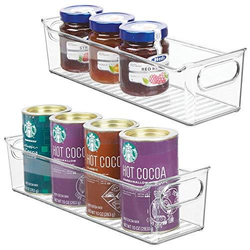 mDesign 2er-Set Aufbewahrungsbox für die Küche – stapelbare Kühlschrankkorb aus Kunststoff – Kühlschrankbox für Milchprodukte, Obst und andere Lebensmittel – durchsichtig