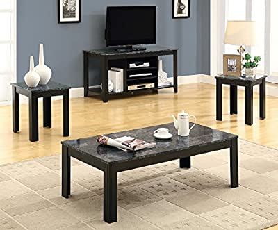 Monarch Specialties Marble-Look Top 3-Piece Coffee Table Set