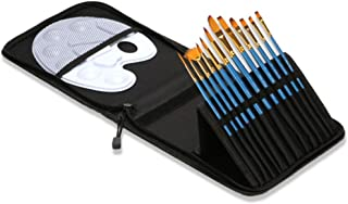 Artist 12 Pcs Paint Brush Set and Palette with 12 Brushes & Carrying Case for Watercolor Oil Acrylic Painting