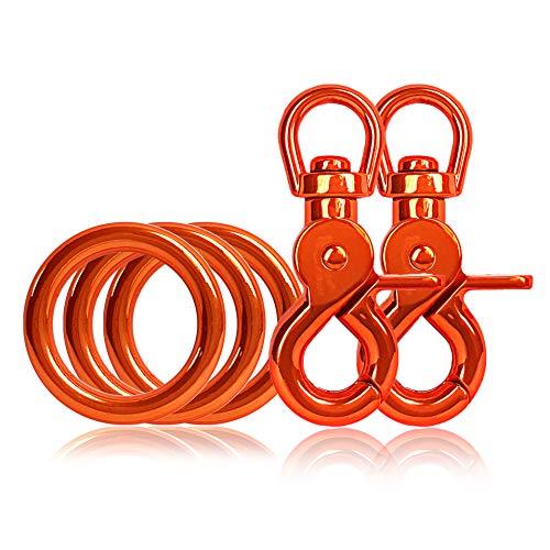 Ganzoo 3 x O - Ring aus Stahl und 2 x Scheren-Karabiner Haken mit Dreh-Gelenk/Dreh-Kopf im Set, DIY Hunde-Leine/Hunde-Halsband, nichtrostend, Ideal mit Paracord 550, Farbe: orange