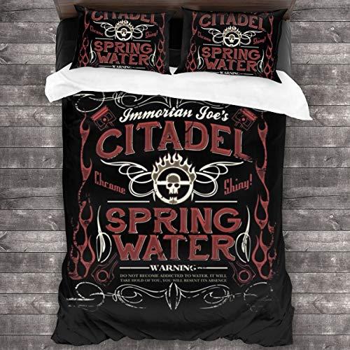 KUKHKU Immortan Joes Citadel Spring Water Mad Max - Juego de cama de 3 piezas con funda de edredón de 86 x 70 pulgadas, decoración de 3 piezas con 2 fundas de almohada