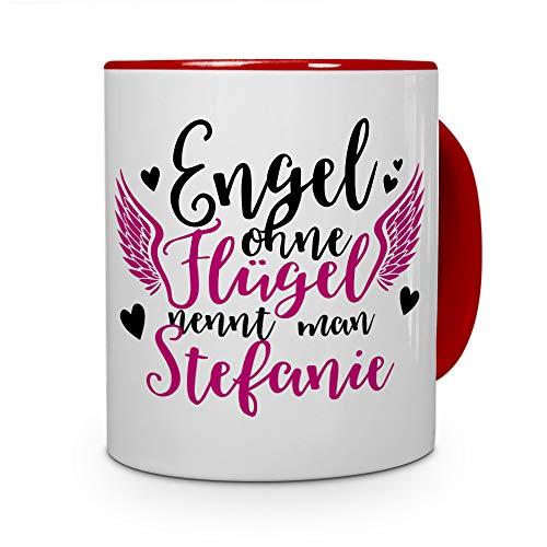 printplanet Tasse mit Namen Stefanie - Motiv Engel - Namenstasse, Kaffeebecher, Mug, Becher, Kaffeetasse - Farbe Rot
