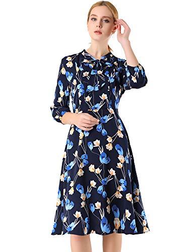 Allegra K Women's Floral Tie Neck 3/4 Sleeve Work Midi Flowy Flare Dress Large Dark Blue