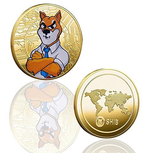 Shiba Coin,2021 Newest Metal Gold Plated Physical Souvenir Dogecoin Coin,Commemorative Collectible Coins,Doge Coin Token Coin,Hobby Virtual Coins Collecting Dogecoins with Protective Case