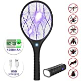 YISSVIC Bug Zapper Racket 3800 Volt Electric Mosquito Killer Rechargeable Built-in Flashlight, LED