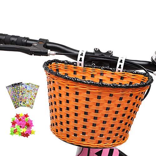 Cesta de bicicleta para niños, cesta de bicicleta delantera con 3 pegatinas de animales de flores de alfabeto de 36 radios de rueda de bicicleta para niños Chirlden regalo DIY Sets - color caqui