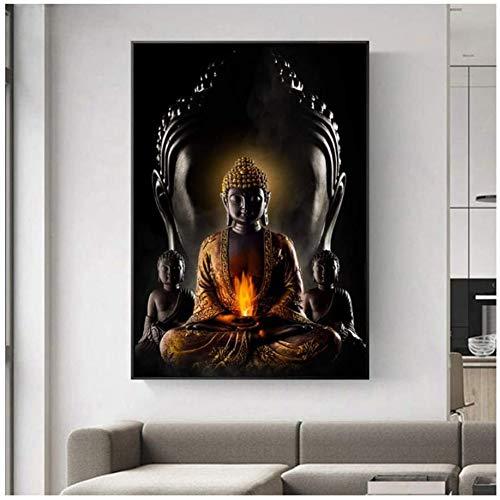 Poster Wanddekor 50x70cm Frameless Buddha Fototapete Kunst Impressionen auf Leinwand Modern Buddha Leinwand Kunst Gemälde an der Wand Leinwand Buddhismus,50 * 70 * 1pcs