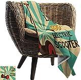 manta tamaño queen (80X130cm) Vintage, Segway Electric Scooter Icon en primer plano de estilo pop art Stripe Transporte urbano, multicolor todas las estaciones Manta de sofá antiestático...