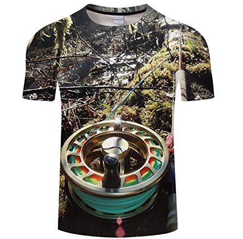 Impresión De Caña De Pescar En El Río Camiseta Summer 3D Print...