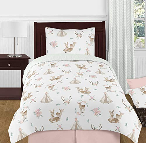 Sweet Jojo Designs Blush Pink, Mint Green and White Boho Watercolor Woodland Deer Floral Girl Twin Kid Childrens Bedding Comforter Set - 4 Pieces