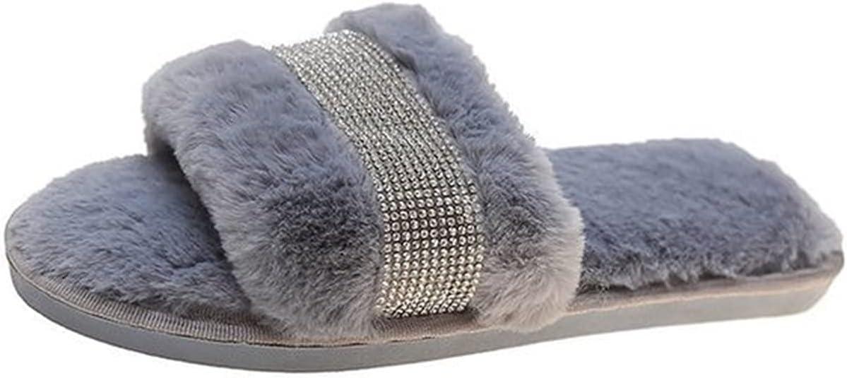 Flirty Sandals Wardrobe Sliders Slip On Flat Fluffy Slippers Sparkly Diamante Sandals Womens Ladies Fashion Slides (Color : Gray, Size : 41(40))