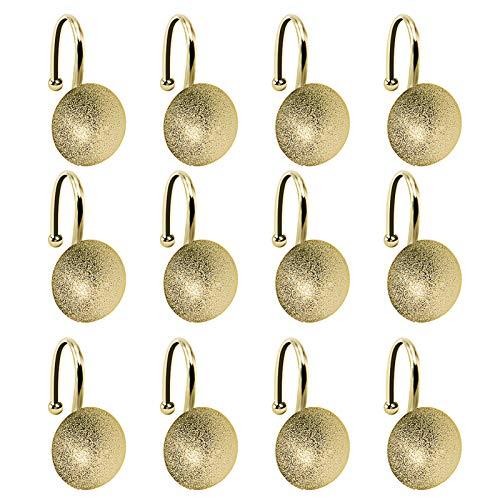 Duschvorhanghaken, halbkugelförmige Metallringe für Badezimmer, 12 Stück, rostfrei, Badezimmer-Vorhang-Zubehör-Set für Badezimmerfenster (Gold)