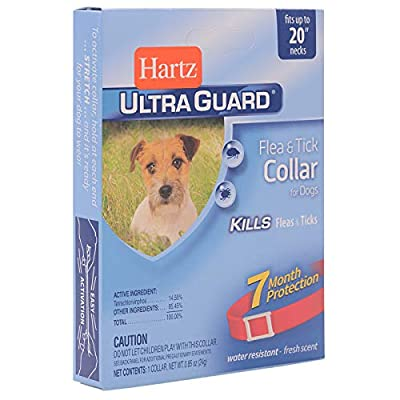 "Hartz UltraGuard Red Flea & Tick Collar for Dogs and Puppies - 20"" Neck, 7 Month Protection (3270091581)"