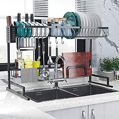 Fnboc Over The Sink Dish Drying Rack, Adjustable Dish Drainer Shelf Multifunctional Kitchen Storage Organizer With Utensils Holder (Sink size?32.5in) from