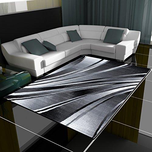 HomebyHome Moderner Design Teppich Wellen Teppich Kurzflor Wohnzimmer versc. Farben Größen, Farbe:Schwarz, Grösse:120x170 cm