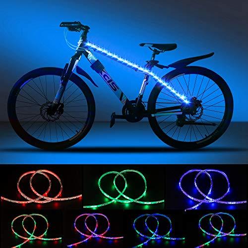DANCRA Fahrradlicht Led Speichenreflektoren Fahrrad Rahmen Licht mit Batterie 6V 0.8M×2 R/G/B LED Streifen Licht wasserdicht für Kinderfahrrad, Fahrrad zubehör.