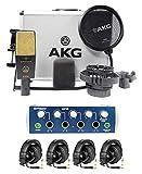 AKG C414 XLII Recording Microphone+Presonus Headphone Amplifier+(4) Headphones