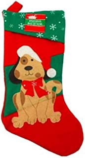 Christmas Stockings Pet Dog Fireplace Hanging Red Plush Personalized Stocking Decorations for Family Celebrate a Holiday Season Decor Pets Bow Puppies Stocking Tree Ornament Party Decor 18 Inches