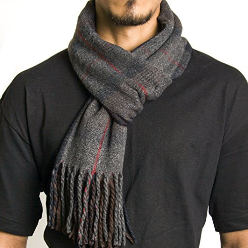 Alpine Swiss Mens Plaid Scarf Soft Winter Scarves Unisex,Hunter Plaid,One Size
