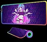 Alfombrilla de ratón para Chica de Anime, Ordenadores de sobremesa RGB, Accesorios para Alfombrilla de Mesa para Juegos de Ordenador, luz LED para Ordenador portátil retroiluminación, 700x300x4 mm