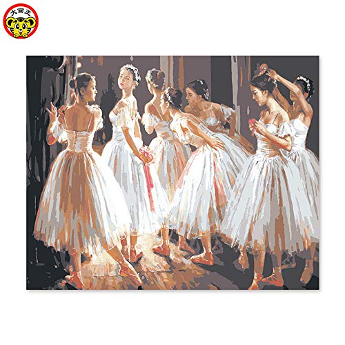 Ölgemälde Digitales Ölgemälde Nach Zahlen Handgemaltes Bild Zeichnen Ballerina Tanzt In Der Klasse Für Digitales Ölgemälde