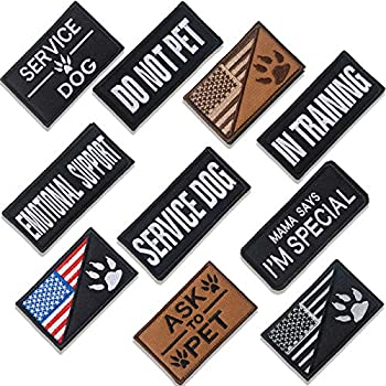 10 Pieces Dog Patches for Service Dog Vest Removable Tactical Hook Loop Harness Patch Set of American Flag Ask to Pet in Training
