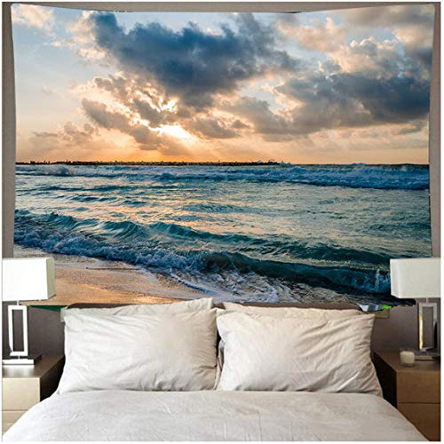 Beautiful Sunset Tapestry The Great Wave Beach Blue Sea Wall Hanging tapestries Wall Cloth Mat Background Blanket Home Decor